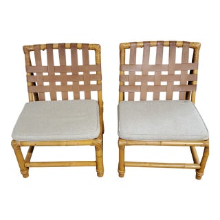 1950s Mid Century Modern Bamboo Lounge Chairs- A Pair For Sale