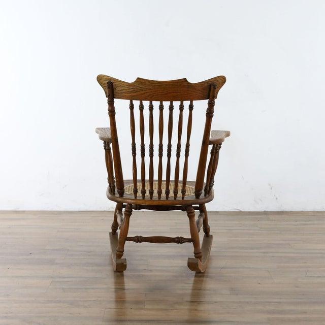 Wood Antique Spindle Back Oak Rocking Chair For Sale - Image 7 of 8