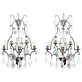 French Louis XV Style Cut Glass and Lacquered Brass Five-Arm Wall Sconces - a Pair For Sale