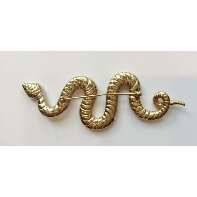 Mid-Century Modern Swarovski Crystal Encrusted Serpent Pin Updated For Sale - Image 3 of 5
