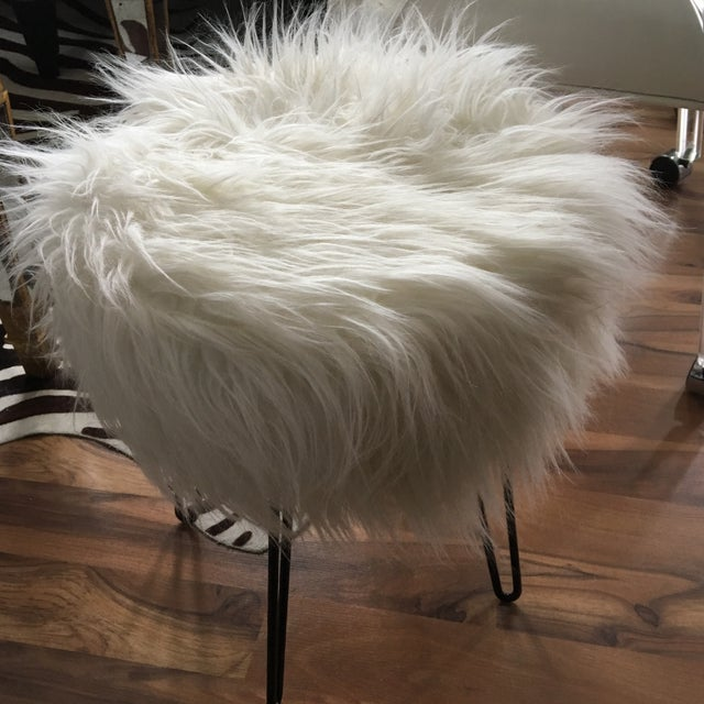 White Vintage White Fluffy Stool For Sale - Image 8 of 8