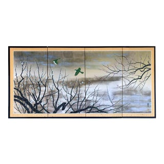 Japanese Showa Era Four-Panel Silver & Gold Leaf Screen Prunus Blossom With Green Birds For Sale