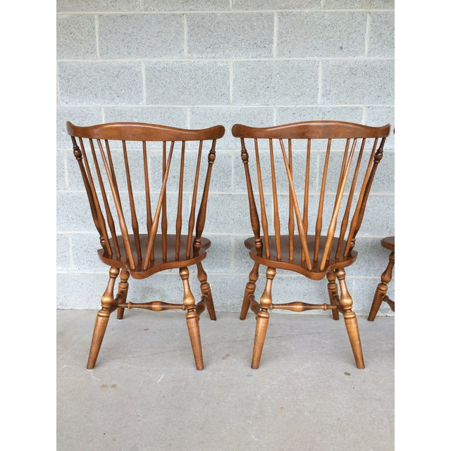 Ethan Allen Windsor Brace Back Nutmeg Side Chairs - Set of 4 For Sale - Image 5 of 11