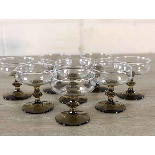 1960s Vintage 1960s Smoked Base Glass Coupe Stems, Set of 8 For Sale - Image 5 of 9