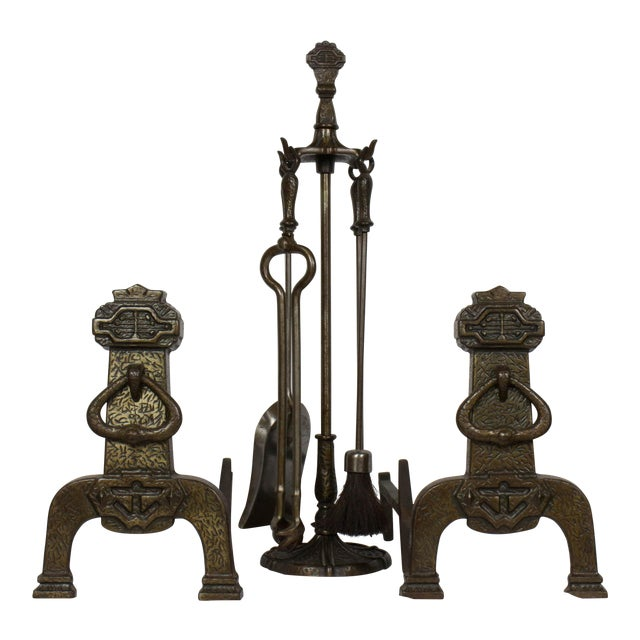 Arts and Crafts Fireplace Set With Andirons and Tools For Sale