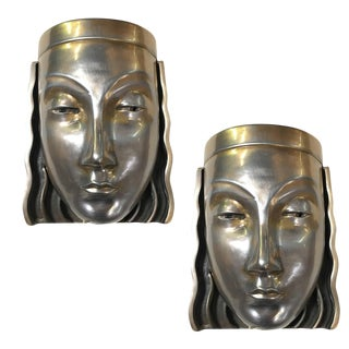 Art Deco Revival Female Face Mask Wall Sconces - a Pair For Sale