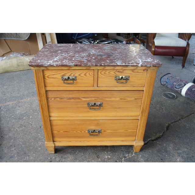 Victorian Antique Pine Marble Top Storage Cabinet For Sale - Image 12 of 13