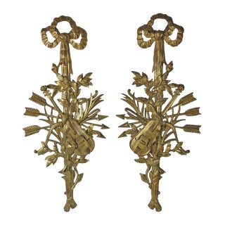 1960s Vintage Italian Neoclassical Style Carved Trophies- a Pair For Sale