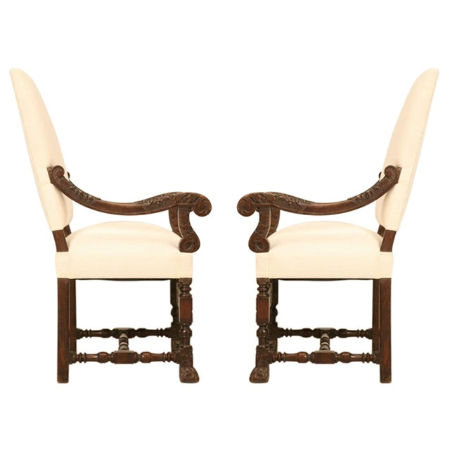 Hand-Carved French White Oak Throne Chairs - A Pair - Image 2 of 11