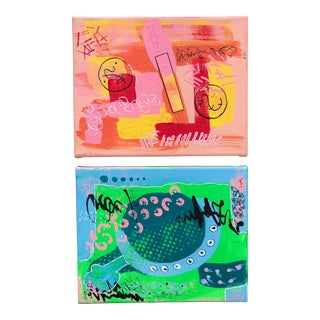 Vintage Multi-Colored Memphis-Style Abstracts-A Pair For Sale