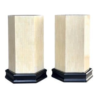 Vintage Tessellated Horn Hexagon Dining Table Pedestals For Sale