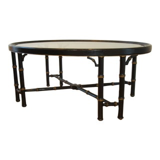 Chinese Chippendale Faux Bamboo and Smoked Glass Coffee Table For Sale
