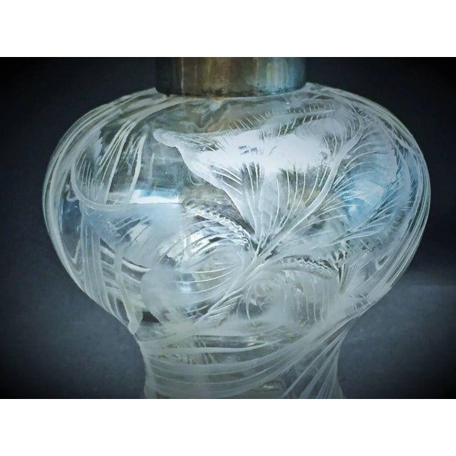 Art Nouveau French Art Nouveau Etched Crystal and Silver Repose Perfume Bottle, Circa 1900 For Sale - Image 3 of 9
