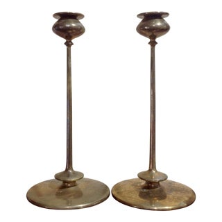 Early Jarvie Beta Candlesticks W Bobeches- a Pair