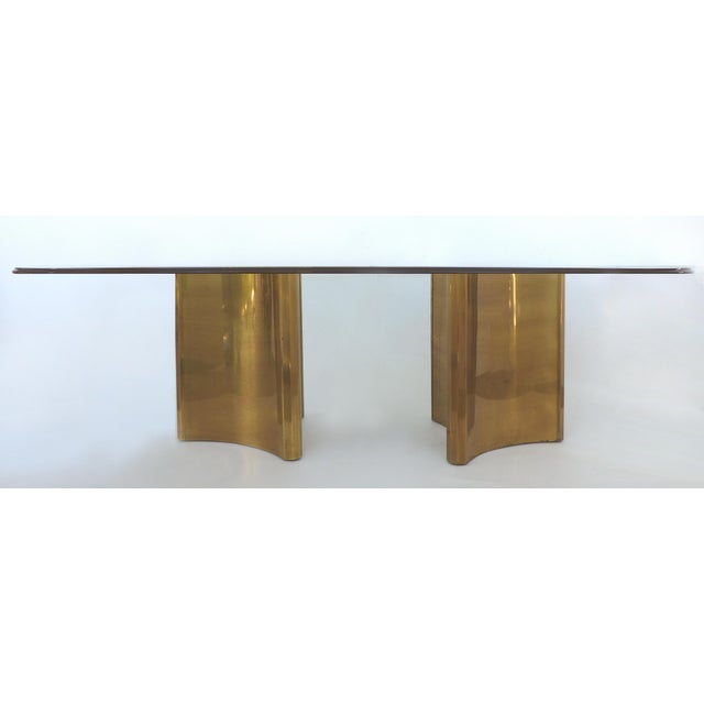 "Mastercraft Double Pedestal Brass ""Trilobi"" Dining Table With Ogee Beveled Glass For Sale - Image 13 of 13"