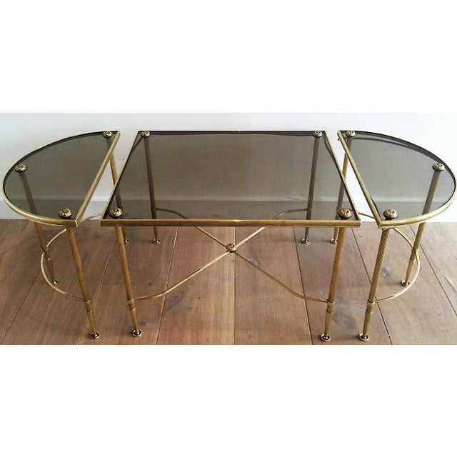 Maison Bagues Tripartite Brass Coffee Table with Smoke Glass.