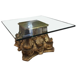 19th Century Hollywood Regency Giltwood Column Capital Cocktail Table For Sale