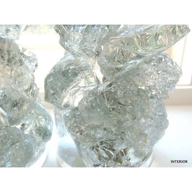 Swank Lighting Glass Rock Table Lamps by Swank Lighting Clear Ice- A Pair For Sale - Image 4 of 9