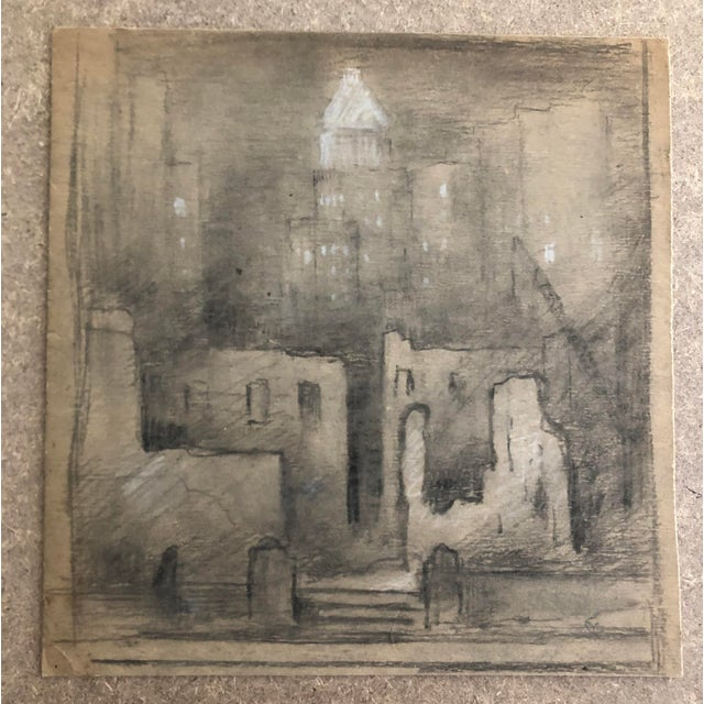 "1954 Vintage Eliot Clark ""Demolition for the Guggenheim Museum"" Drawing For Sale - Image 9 of 9"