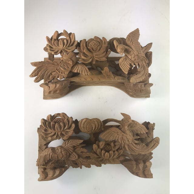 Brown 1980s Vintage Chinese Wood Carving Architectural Pieces- A Pair For Sale - Image 8 of 8