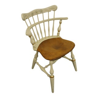 Ethan Allen Cream / Off White & Gold Hitchcock Style Accent Side Chair For Sale