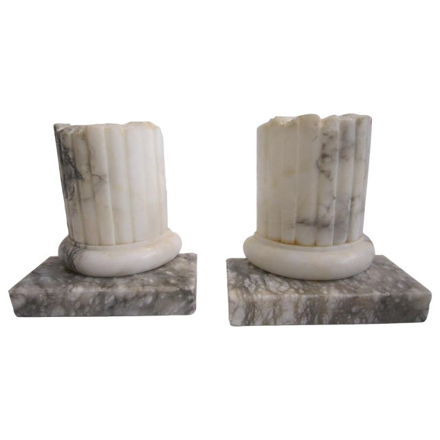 Neoclassical Marble Bookends - Pair - Image 1 of 5