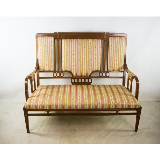 Art Nouveau Art Nouveau Settee Sofa in the Style of Iberto Issel For Sale - Image 3 of 11