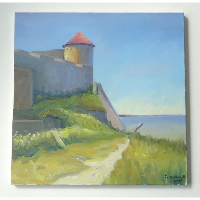 2010s Seaside Castle Fortress Impressionist Oil Painting For Sale - Image 5 of 5