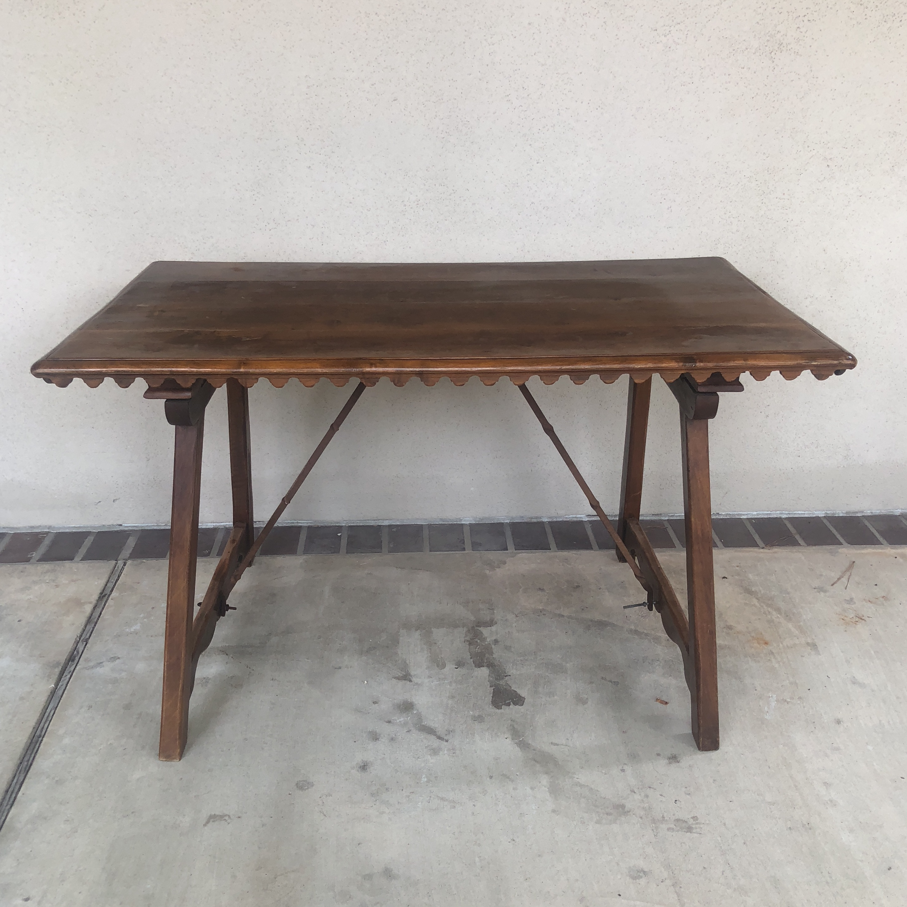 This Is An Antique Folding Spanish Table, Circa 1890 1910. The Piece  Features
