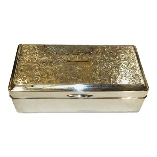 Handcrafted 950 Sterling Silver Hinged Box For Sale