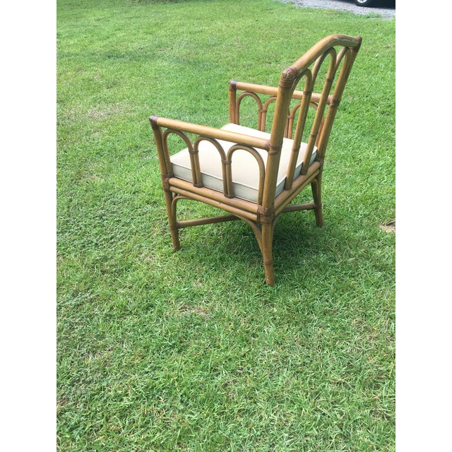 Brown Vintage Shelby Williams Rattan Armchair For Sale - Image 8 of 8