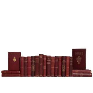 Merlot & Gilt Antique Classics Book Set, S/20 For Sale