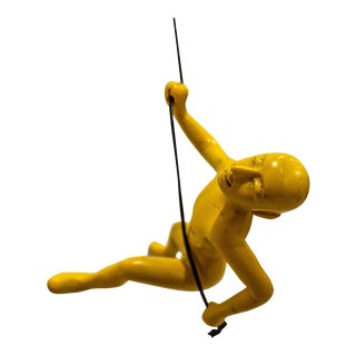 Yellow Position Climbing Man Durable Polyresin 3d Hanging Wall Art Sculpture with Leathered Rope and Hanging Hardware Included For Sale