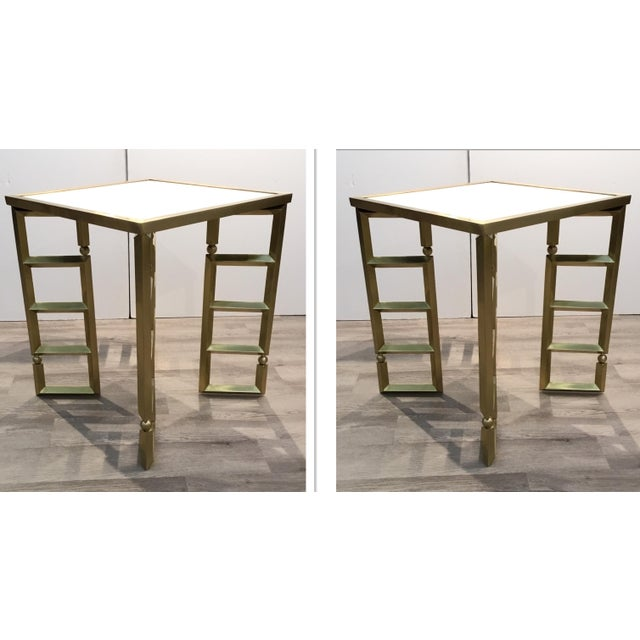 Metal Global Views Modern White and Brass Beveled Leg Side Tables Pair For Sale - Image 7 of 7