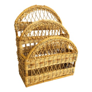 Vintage Wicker Letter Holder For Sale