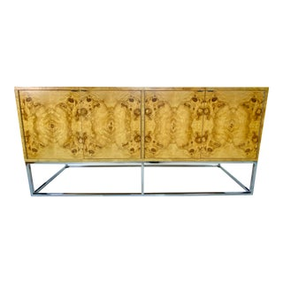 Mid-Century Milo Baughman Style Burled Olive Wood Chrome Credenza For Sale