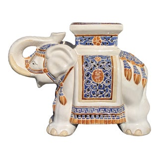 Chinoiserie Ceramic Elephant Plant Stand For Sale
