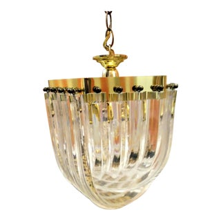 Vintage Lucite Clear Gold Ribbon Chandelier Light For Sale