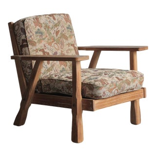 1980s Vintage Ranch Oak Cowboy Lounge Chair For Sale