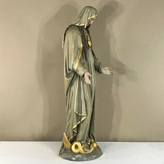 Green 19th Century Hand-Painted Polychrome Madonna For Sale - Image 8 of 12
