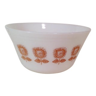 Mid-Century Brown Flower Mixing Bowl