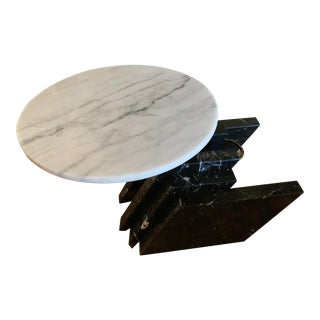 1980s Modern Stacked Marble Table With Rotating Top For Sale