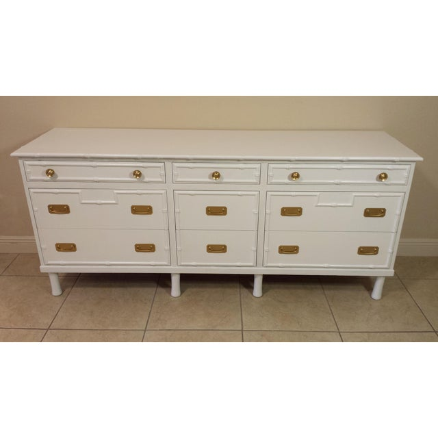 Ficks Reed Faux Bamboo Ficks Reed High Gloss White Dresser For Sale - Image 4 of 8