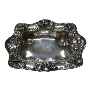 19th Century Art Nouveau Gorham Sterling Silver Poppy Repousse Bowl For Sale