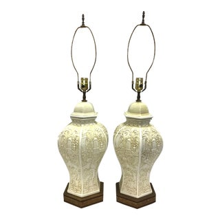 Chinoiserie Porcelain Brass Ginger Jar Lamps - a Pair For Sale