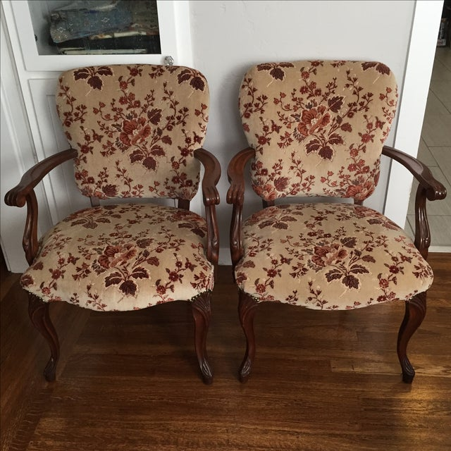 Floral French Provincial Chairs- A Pair - Image 2 of 7