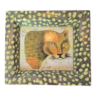 Vintage John Derian Leopard Hand Painted Catchall Tray For Sale