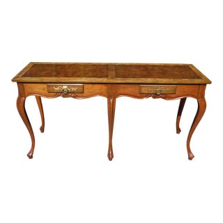 Vintage Traditional Baker Furniture Louis XV Style Walnut Console Sofa Table For Sale
