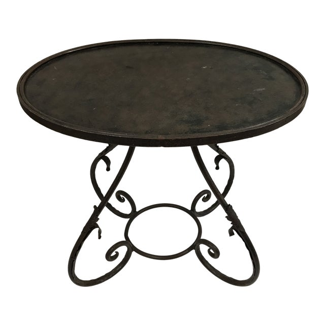Oval Metal Side Table For Sale
