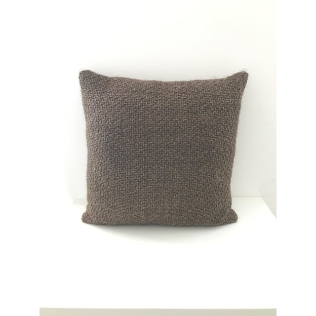 Transitional Brown Chunky Woven Pillow For Sale - Image 4 of 4